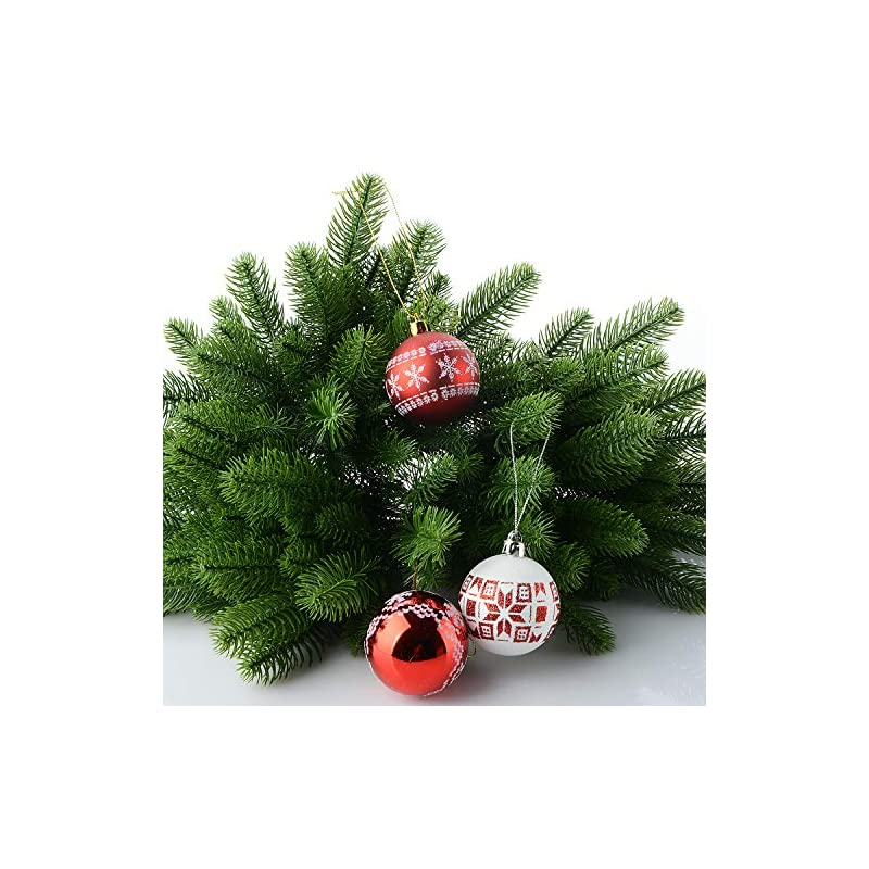 silk flower arrangements moobom artificial pine tree branches, 50-pack green plants pine needles diy accessories for garland wreath christmas embellishing and home garden decor