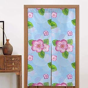 Ladninag Noren Doorway Curtain Spring Floral Pink Flowers Blue Japanese Noren Doorway Curtain Long Tapestry Door Curtains Decor Dividers for Home Kitchen Bedroom Bathroom Living Room Office