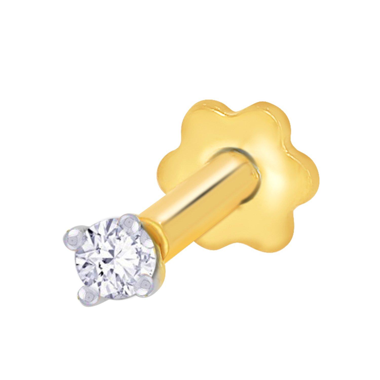 2.3mm Diamond Nose Stud/Lip Labret/Screw Ring Piercing Pin Bone 14k Gold 19.5 Guage (GH/I1-I2)