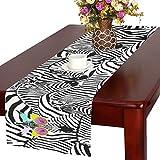 your-fantasia Zebras Cotton Linen Table Runner 14 x 72 inch