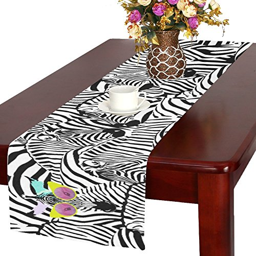 your-fantasia Zebras Cotton Linen Table Runner 14 x 72 inch by your-fantasia