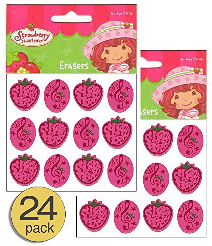 (Set of 24 - Strawberry Shortcake Party Supplies - Strawberry Party Favors - Strawberry Favors - Strawberry Erasers, Wholesale Bulk Value Pack)