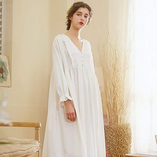 YPDM Bata,Camisón de algodón Mujer 2019 Ropa de Dormir de otoño Vestido Blanco Ropa de casa cómoda Camisones Mujer, Blanco, S: Amazon.es: Hogar