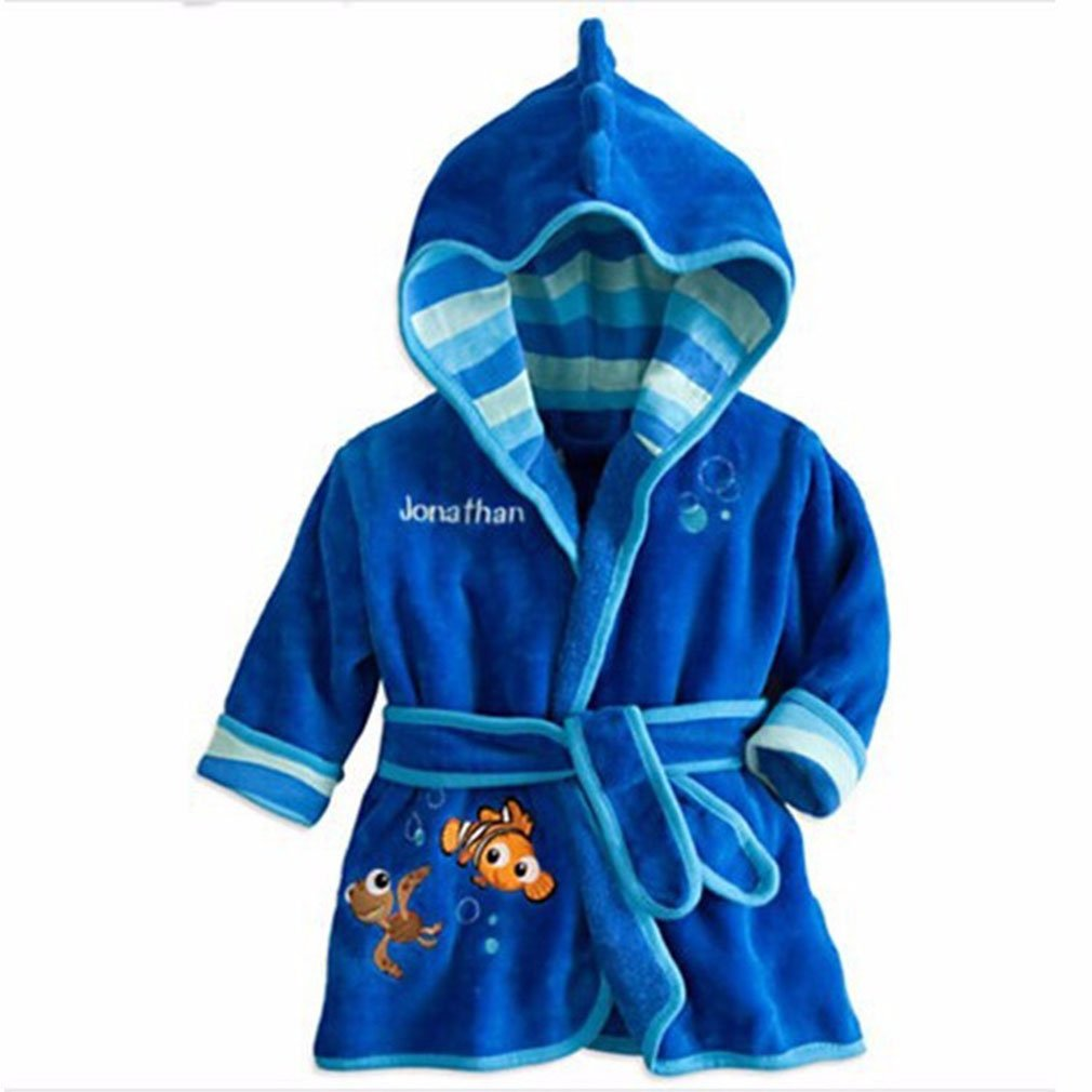 5t 3t 6t 4t Little Girls Bathrobe with Hood Pajamas Robe Coats Clothes Blue 2t
