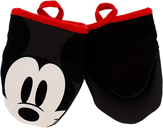 "Classic Mickey Disney Kitchen Cotton Mini Oven Mitts 5"" x 6.5"" 2pk"