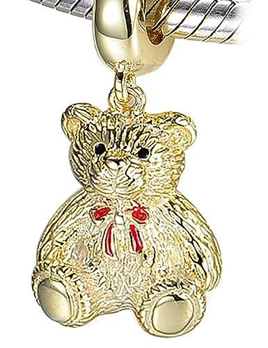 ea0b31286 Teddy Bear Charm - S925 Sterling Silver Yellow Gold fits Pandora Women's Charms  Bracelet Bead -