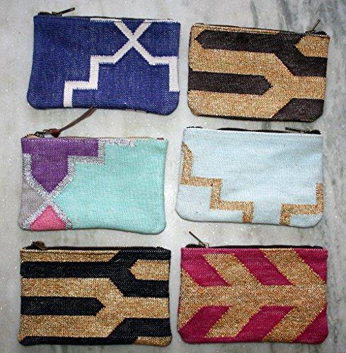 All vintage Zari work Cotton Bag set di 6pezzi all' ingrosso lotto vintage kilim Cotton Bag Beautiful Old tradizionale da donna Small bag, borsa a mano, unico Art turco kilim fatto a mano