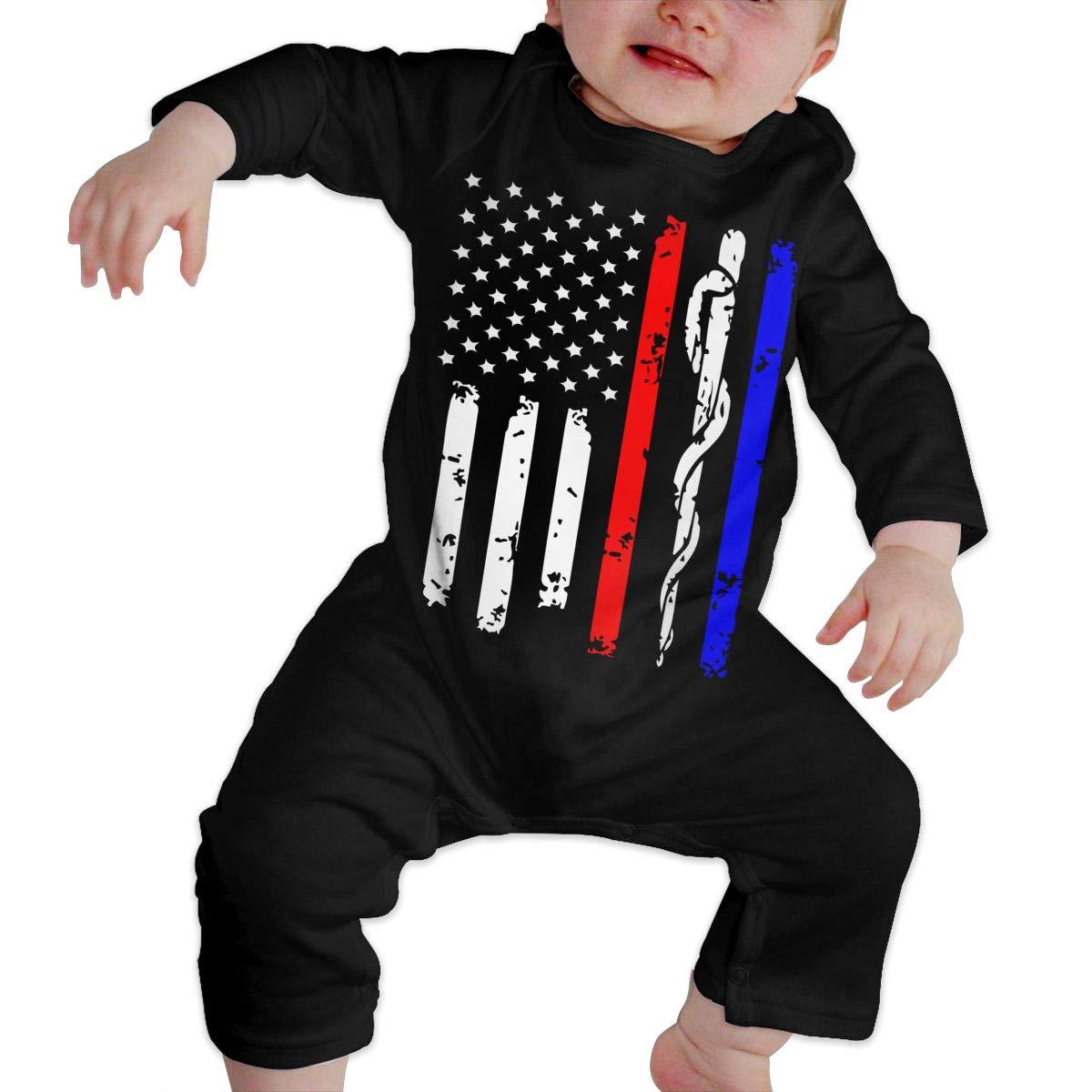 YUE--3BODY Police /& Firefighter /& EMT Flag Toddler Baby Boy Girl Long Sleeve Gentleman Bodysuit