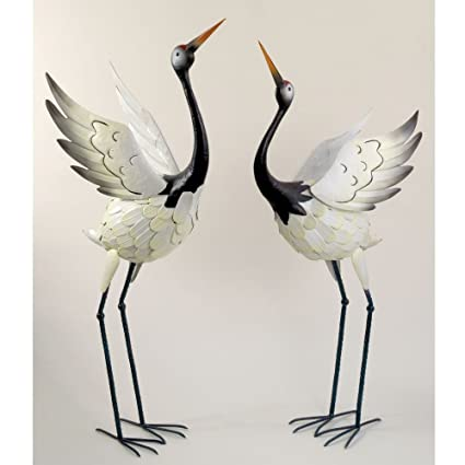 Bits And Pieces  Red Crowned Cranes Metal Garden Sculpture   Set Of Two  Metal Cranes