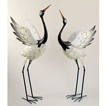 Amazoncom Bits and Pieces Red Crowned Cranes Metal Garden