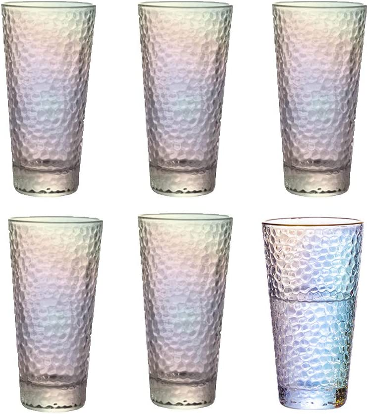 Highball Drinking Glasses, Colorful Heavy Base Tall Bar Glass Set of 6, for Water, Soda, Juice, Cocktail, Whisky Glasses - 410ML /14.4 oz