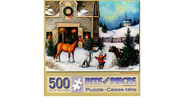 "500 Piece Linda N Stocks Art Puzzle /"" Best Snowman Ever/""  New 18/"" x 24/"""