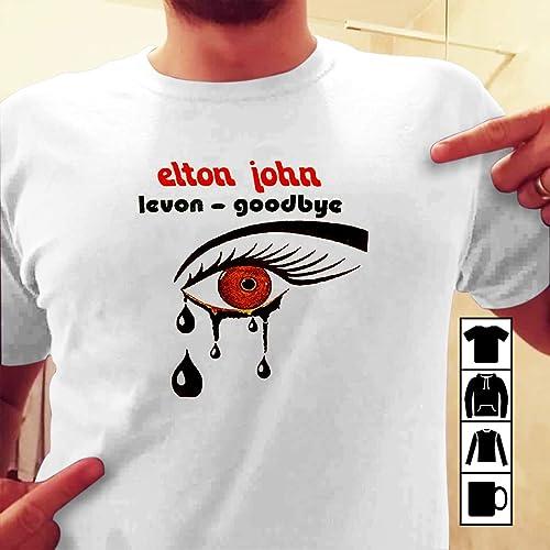 c42fec2f4 Amazon.com: ELTON JOHN LEVON GOODBYE LOGO FRONT BLACK T SHIRT: Handmade