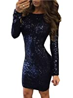 METERDE Women's Long Sleeves Bodycon Evening Party Sequined Dress