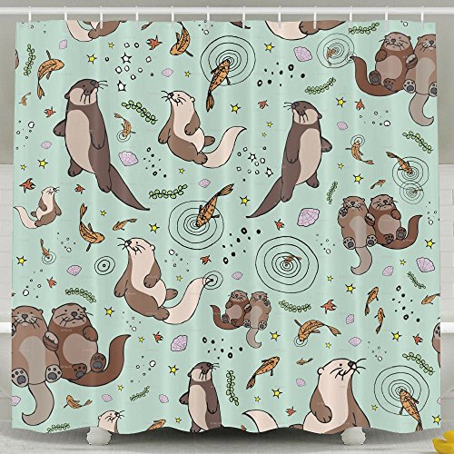 New Lalamin Sea Otters Polyester Shower Curtain Set 60x72 Inches Bath Curtains,Waterproof Mold Mildew Resistant Unique Art Designed For Bathroom for cheap