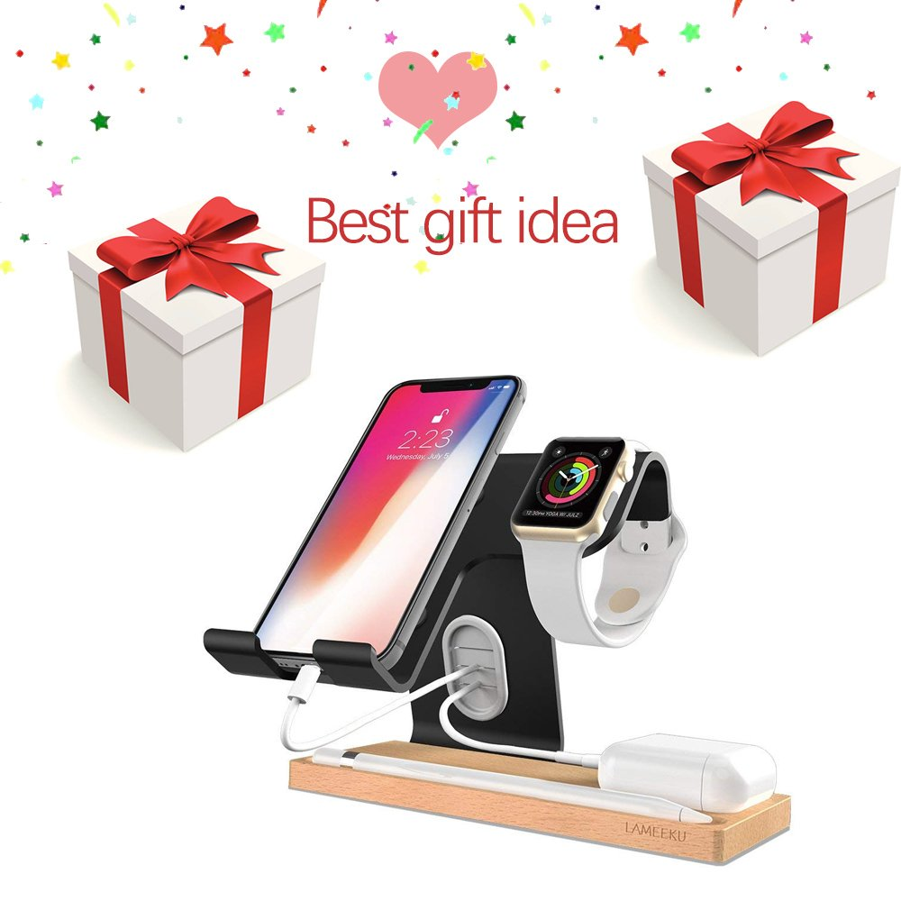 LAMEEKU Compatible Cell Phone Stand Replacement for Apple Watch Stand, Desktop Cell Phone Stand For all Android Smartphone, iPhone X 6 6s 7 8 Plus, Samsung, Apple Watch 38mm 42mm, iPad Airpods - Black by LAMEEKU (Image #3)