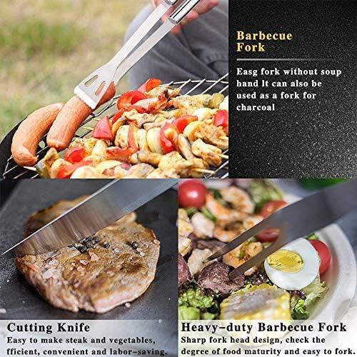 ZOSUO 3Pcs Kit Ustensiles Barbecue, Ensembles D'ustensiles pour Barbecue Ustensiles pour Barbecue Professionnels en Acier Inoxidable avec Sac De Transport Portable