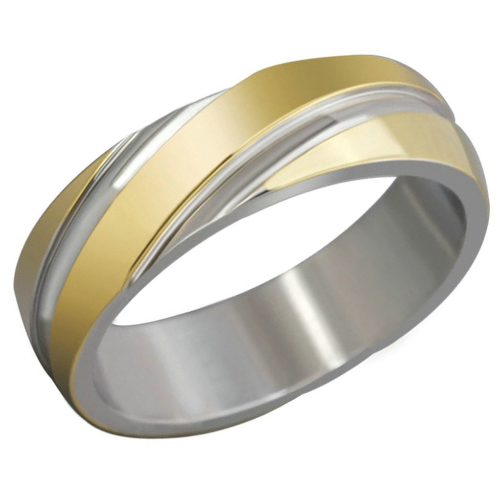 Free Engraving KnSam Men Stainless Steel Bands Gold Classic Polished 6MM Size 9 [Novelty Ring]