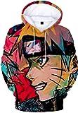 Bettydom Hombre Sudaderas con Capucha Figura Impresa de Naruto Mangas Largas