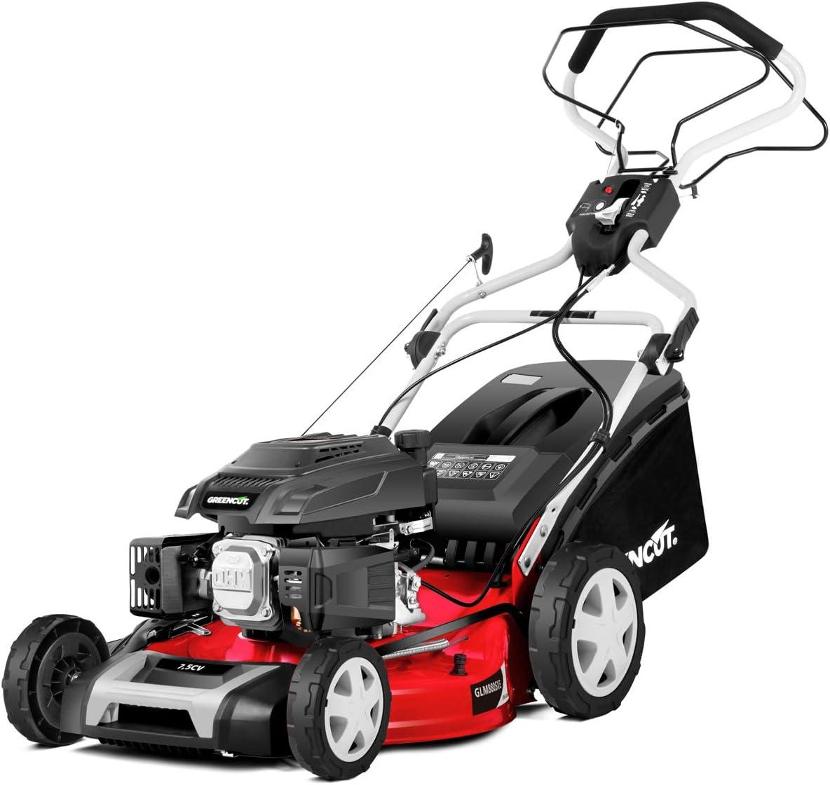 GREENCUT GLM880XE - Cortacésped autopropulsado de gasolina 218cc y 7,5cv con arranque Eléctrico y ancho de corte de 504mm (21