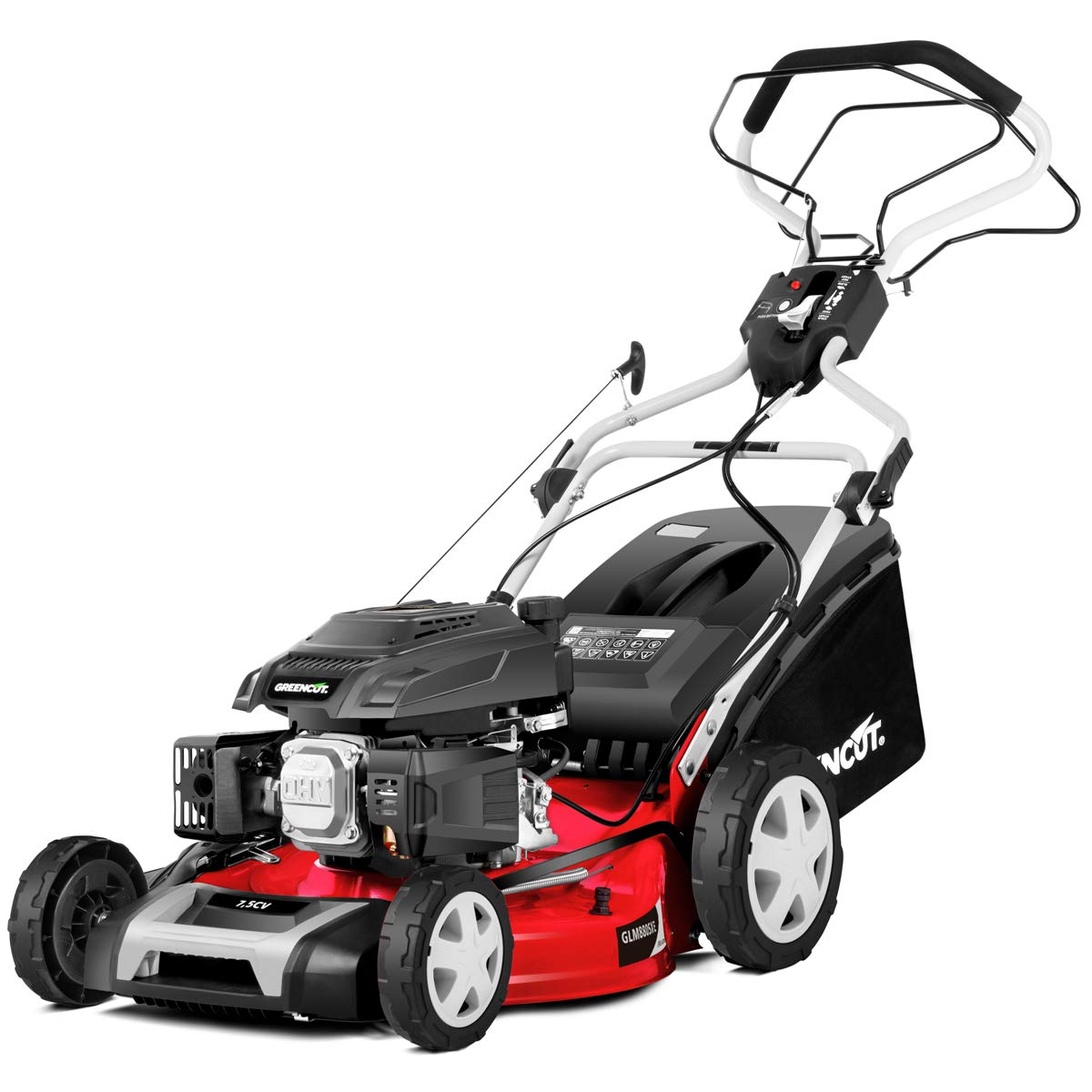 Greencut GLM680SX - Cortacésped con tracción manual con motor de gasolina de 139cc y 5cv y arranque manual Easy-start, con un ancho de corte de 407mm ...