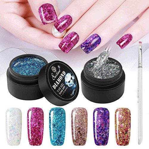6 Color Glitter Nail Polish+ Painting Pen, Saviland Soak off Diamond Gel Nail Varnish Set