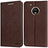 DMG PU Leather Premium Wallet Cover Book Case with Stand and Card Slots for Moto G5 Plus (Coffee Brown)