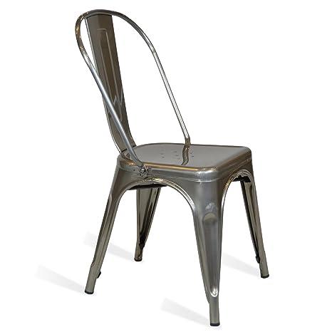 Sedie In Metallo Per Cucina.Fashion Commerce Tolix Sedie Metallo Argento 45x50x60 Cm 1 Unita