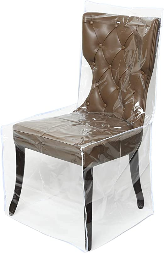 Amazon Com Zipcase 2 Packs All Cover In Plastic Dinning Chair Covers Heavy Duty Clear Chair Protectors Keep Your Dinning Chair Away From Water Dust Paws And Claws Kitchen Dining