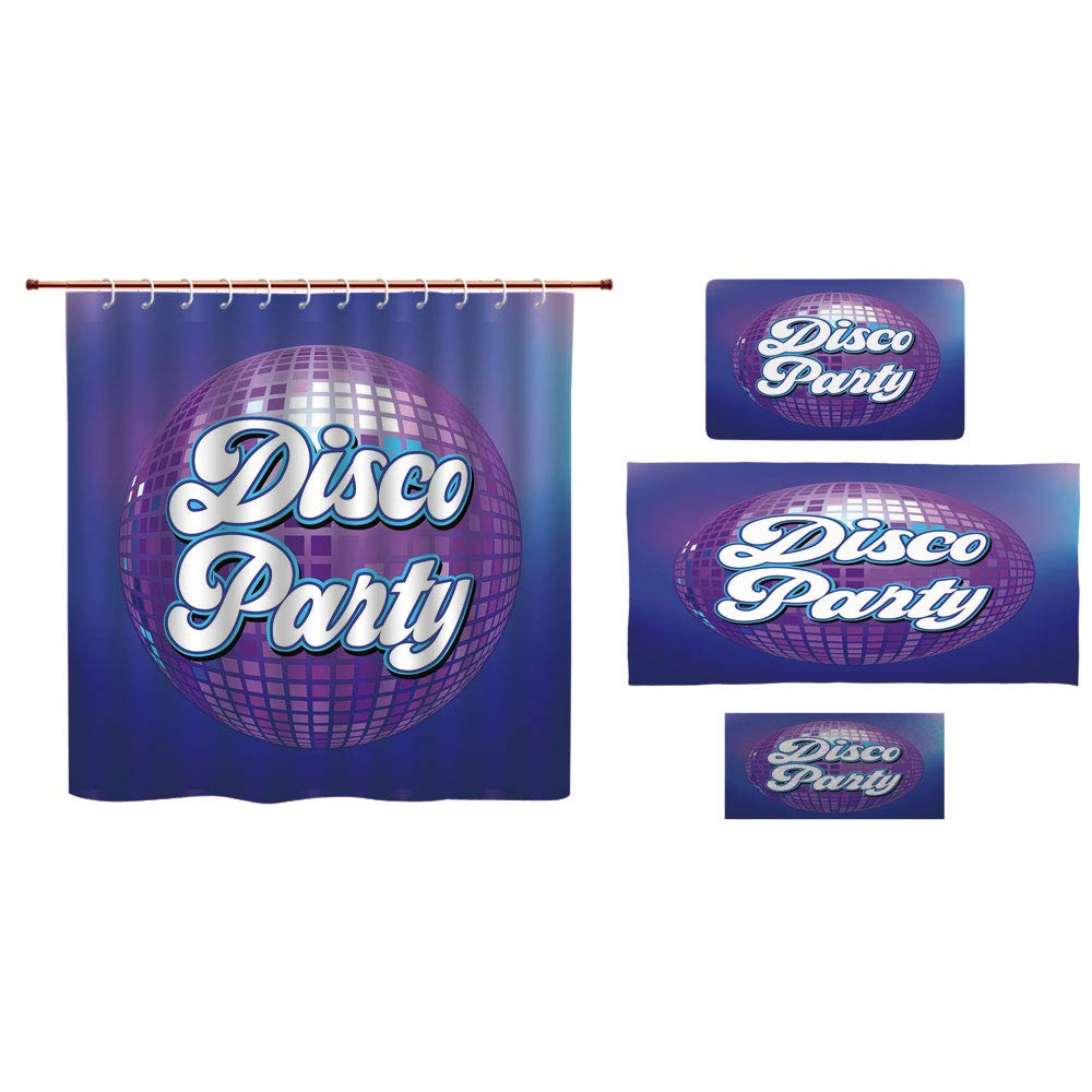 iPrint Bathroom 4 Piece Set Shower Curtain Floor mat Bath Towel 3D Print,Lettering on Disco Ball Night Club Theme Dance,Fashion Personality Customization adds Color to Your Bathroom.