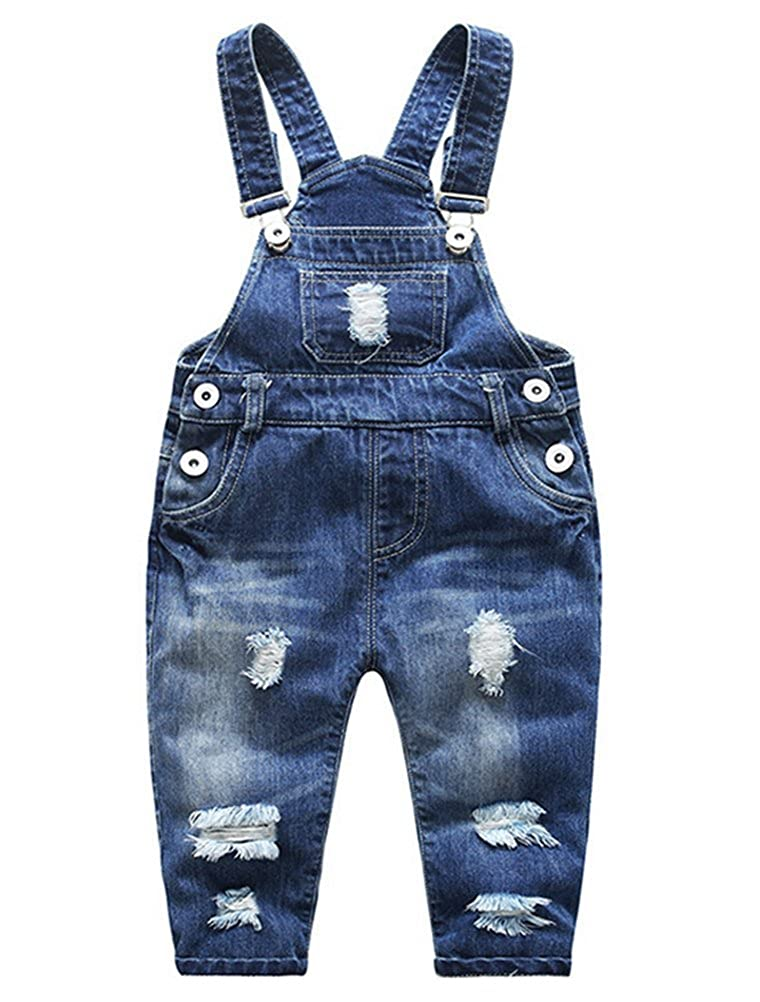 Abolai Little Boys' Girls' Ripped Holes Jeans Jumpsuit Rompers Overalls