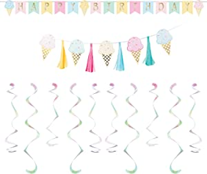 Creative Converting Ice Cream Party Decor Bundle | Banners, Danglers | Kids Birthday Decoration, Baby Shower Supplies, Sundae Cone Decorations