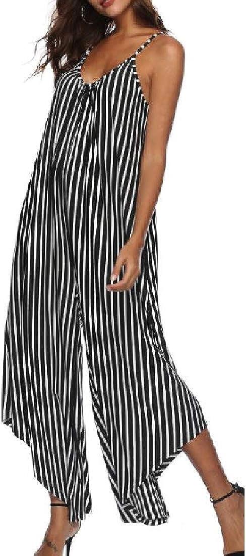 Hajotrawa Womens Irregular Retro V Neck Spaghetti Strap Striped Wide Leg Jumpsuits