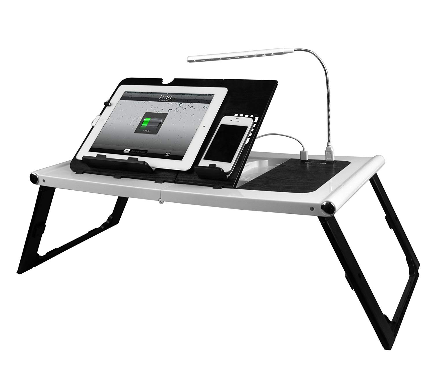 Smart Charging Table Portable Adjustable Bed Tray Table - Lap Desk - Stand - Desk for Laptops, MacBook, Notebook & Tablets with 10000mAh Power Bank (NO OUTLET NEEDED) - BONUS LED light (white)