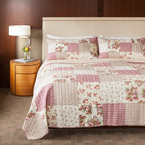 Rose Queen Quilt (SLPR Country Roses 3-Piece Real Patchwork Cotton Quilt Set (Queen) | with 2 Shams Pre-Washed Reversible Machine Washable Lightweight Bedspread Coverlet)
