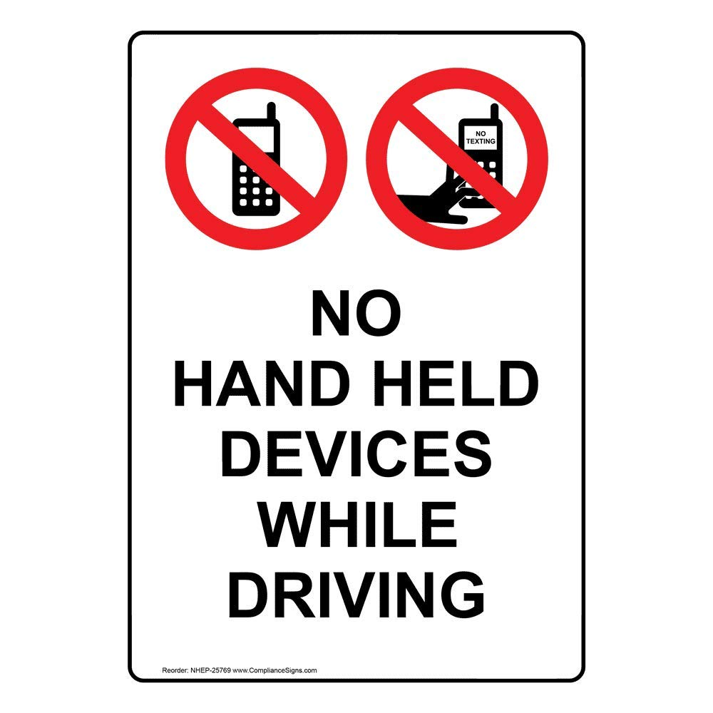 No Hand Held Devices While Driving Label Decal 5x3.5 in 4-Pack Vinyl for Cell Phones by ComplianceSigns