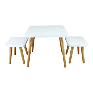 American Trails 560-31 The Easel Table & Chair Set Kid Table, Two-Tone (White, Natural)