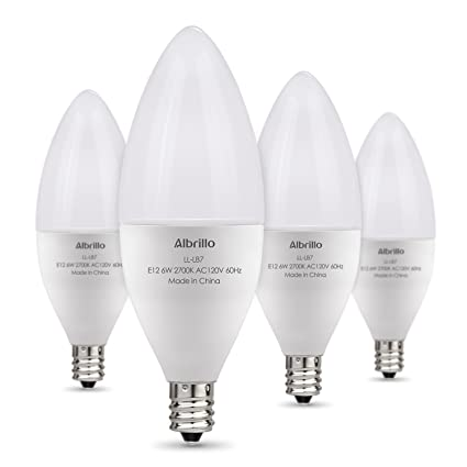 Albrillo E12 LED Bulb Candelabra Light Bulbs 6W, 60 Watt Equivalent ...