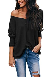 30eed231dbcd iGENJUN Women s Casual V-Neck Off-Shoulder Batwing Sleeve Pullover Tops