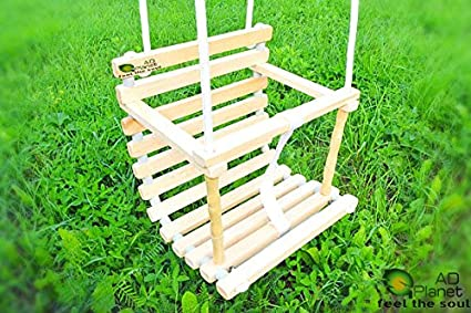 AD Planet Chair/Swing Chair/Baby Chair/Colourful Swing/Toddler Wooden Classic Vintage Swing/Joyful Safety Seat/High Quality Natural Wood Swing for Nursery Or Outdoors Garden