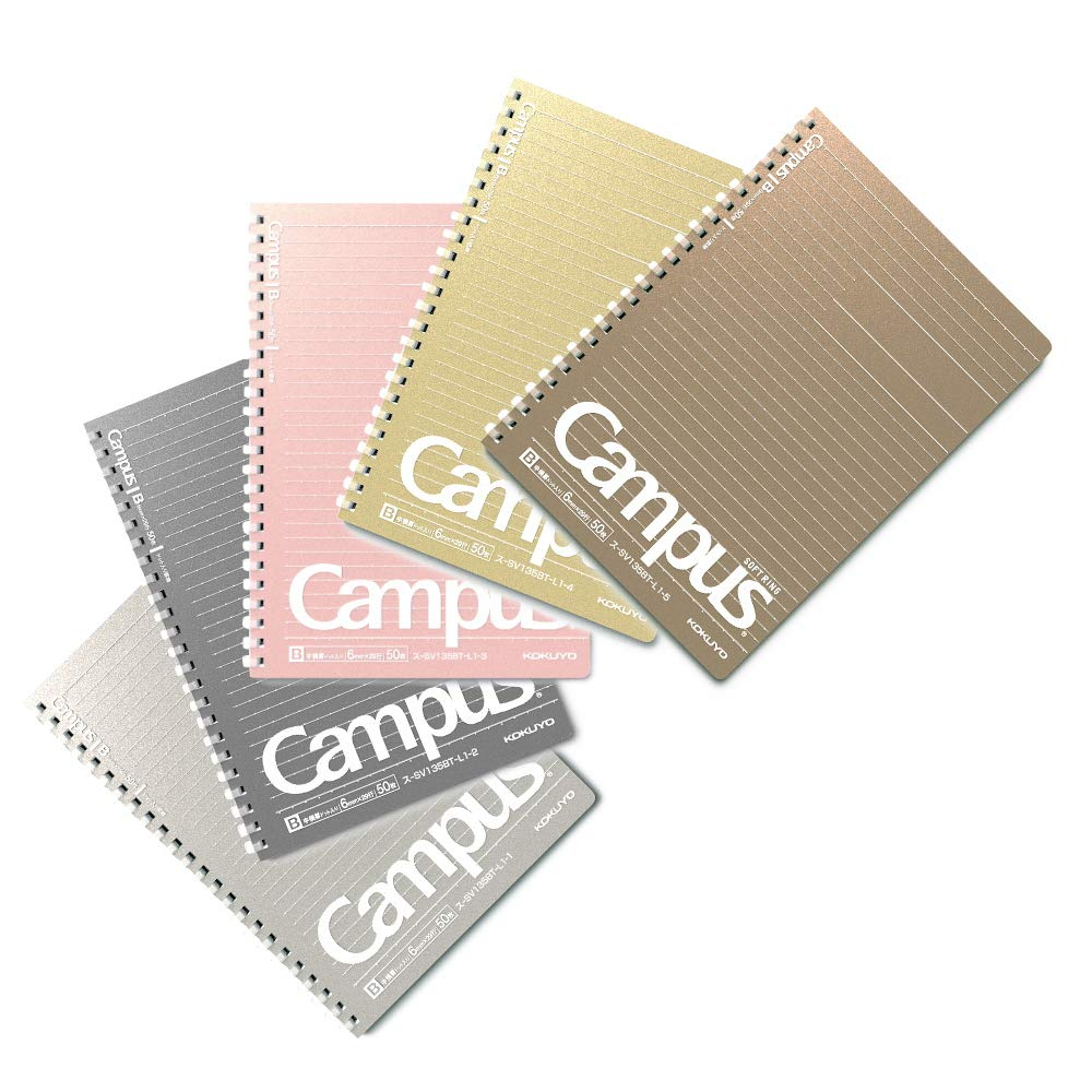 Kokuyo Campus note Soft ring dotted ruled lines, A5 (50 sheet) 5 metallic colors Silver, Metallic Black, Pink Gold, Gold and Bronze, 10 years anniversary limited, for business, University, High school
