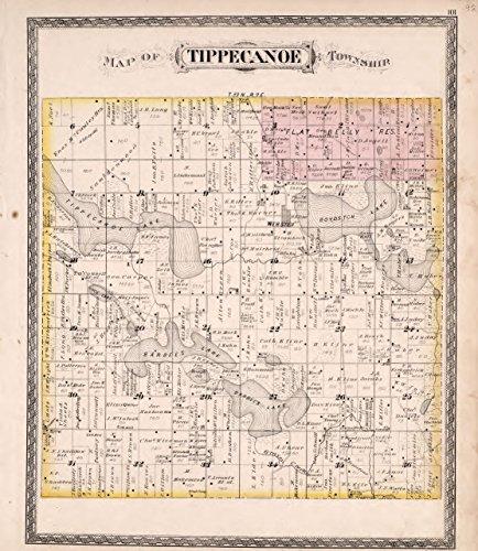 Historic 1879 Map | Combination Atlas map of Kosciusko County, Indiana | Tippecanoe Township|New Historical Atlas of Kosciusko Co, Indiana : 38in x 44in