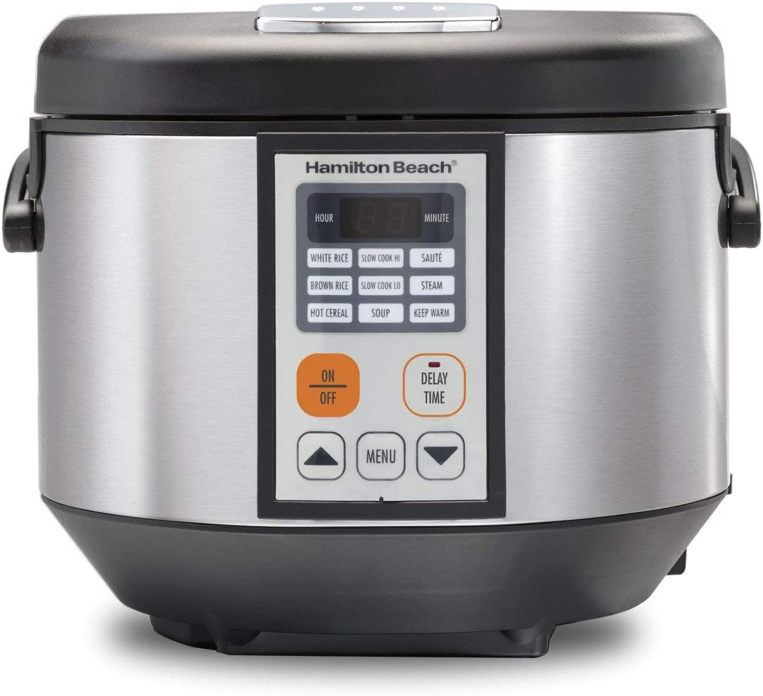Hamilton Beach Multicooker Rice Cooker, Slow Cooker, Food Steamer 4.5 Quart Capacity - Silver/Black