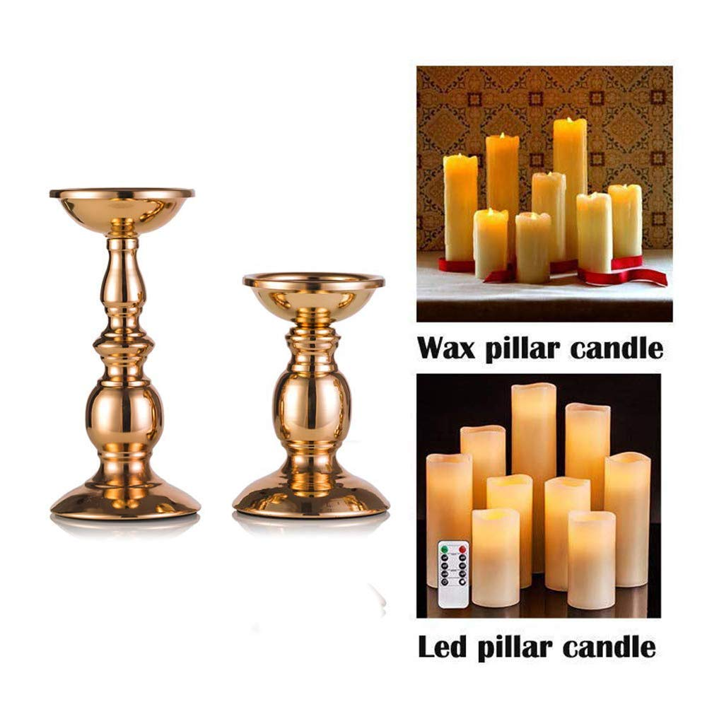 """Pcs of 2 Gold Metal Pillar Candle Holders for 3"""" Dia Candle, Wedding Centerpieces Candlestick Holders Stand Centerpiece Decoration Ideal for Weddings, Special Events, Parties (Gold, S + L)"""