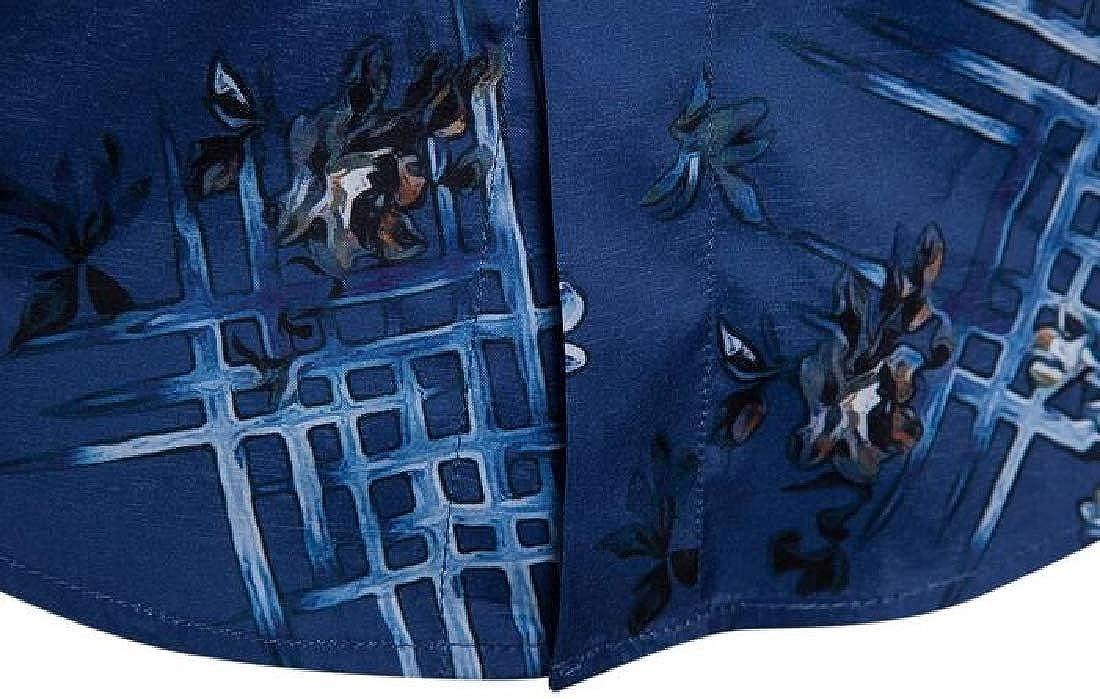 Jotebriyo Men Shirts Casual Button Up Floral Print Long Sleeve Stretchy Shirts