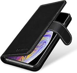 StilGut Talis Case con Tasca per Carte, Custodia in Pelle Cover per Apple iPhone XS. Chiusura a Libro Flip-Case in Vera Pelle Fatta a Mano, pratiche Tasche per Carte di Credito, Nero Nappa