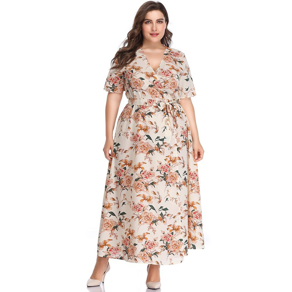 Womens Plus Size Sexy V Neck Short Sleeve Chiffon Dress Floral Printed Split Flare High Low Maxi Warp Dress with Belt (2X Plus, Apricot White)
