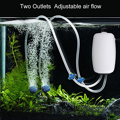 KEDSUM Aquarium and Fish Tank Oxygen Air Pump with 2 Silicone Tubes /2 Air Stone/2 Air Valves/8W