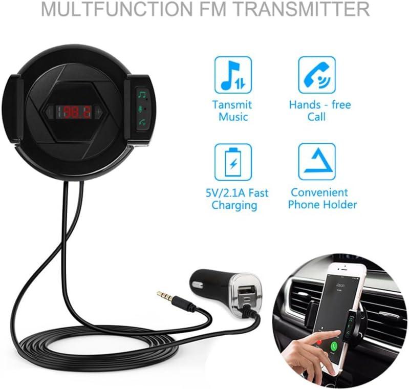 Transmisor FM Bluetooth 4.1 para Coche, Manos Libres Emisor,AUX Salida,Radio Adaptador y Reproductor de MP3,USB Cargador de Coche sin Instalacion,Tarjeta TF,para Móviles,Tablet,etc-Negro