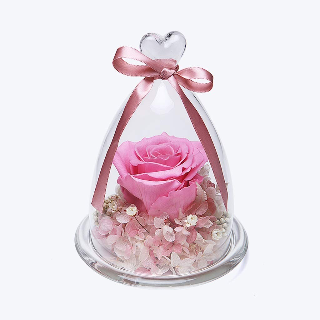 NKDK 永遠の花ギフトガラスカバーピンクリトルプリンスローズバレンタインデー送信ガールフレンドガールフレンド永遠の花 - 造花 3635 B07SQQVRJ8
